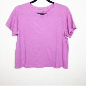 Athletea fuchsia Crewneck crop short sleeve shirt